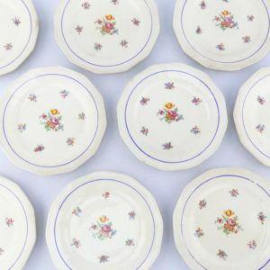 assiettes fleurs vintage