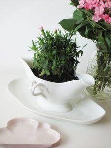 diy saucière pot de fleurs vintage