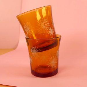 verre vintage ambré emmaus