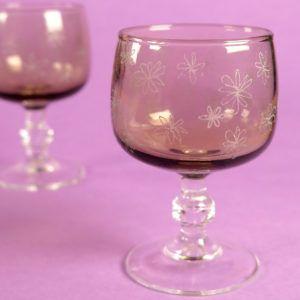 verres vintage emmaus gravés