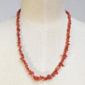perles corail pierres colliers vintage must have seconde main orange rouge