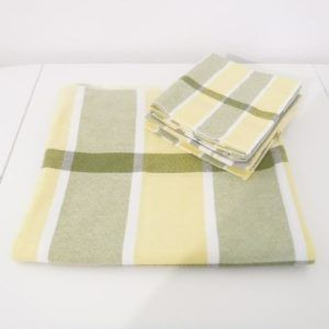 6 Serviettes de table + Nappe vintage jaune vert seconde main emmaus rétro pique nique éthique