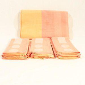 Nappe et 10 serviettes jaunes rouge orange vintage linge de maison emmaus seconde main réemploi solidaire