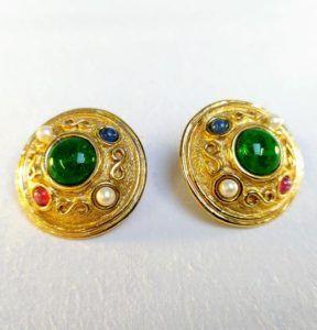 boucle d'oreilles vintage or doré dior vert émeraudes diamants unique luxe chic élégance clips bleu