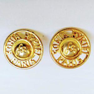 boucle d'oreilles vintage or doré sonia rykiel ronde clips aztèque écriture rond