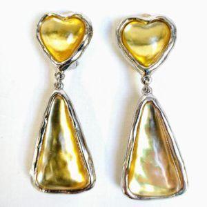 boucle d'oreilles vintage or doré coeur longue pendantes lourdes chic couple