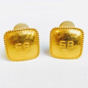 boucle d'oreilles vintage or doré sonia rykiel carré original rectangle SR lettres