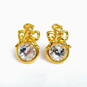 boucle d'oreilles vintage or doré luxe diamant chic élégant classe pierre précieuse