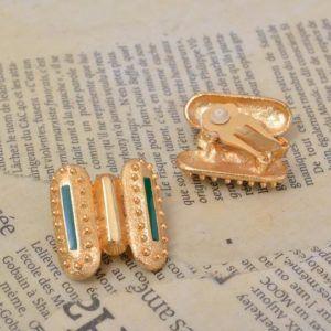 boucle d'oreilles vintage or doré carré bleu vert émeraude diamants luxe