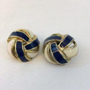 boucle d'oreilles vintage or doré luxe mamie bleu escargot rond