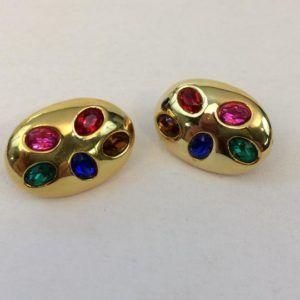 boucle d'oreilles vintage or doré violet ovale clips grosses