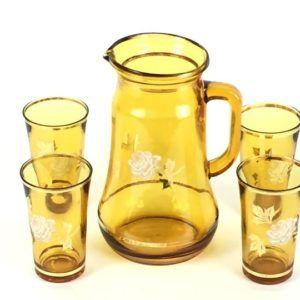 Service à orangeade avec 4 verres jaune fleurs fleuri vintae seconde main rétro