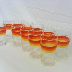 lot 10 verres vintage orange jaune fluo rétro colorés originale années 60 70